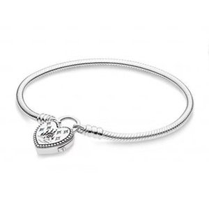 NEW 100% 925 Sterling Silver Original pandora Classic Logo Lovely Park Charm Lock Basic Bracelet with Signature Padlock DIY Bead Gift