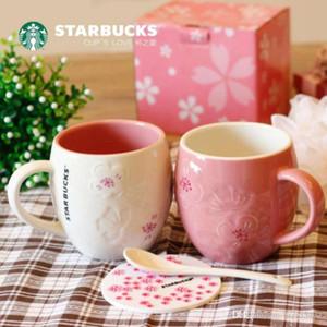 Мода Starbucks Peach Blossom кружка белый розовый рельеф керамический кофейной чашкой 12 унций день Святого Валентина пара чашки
