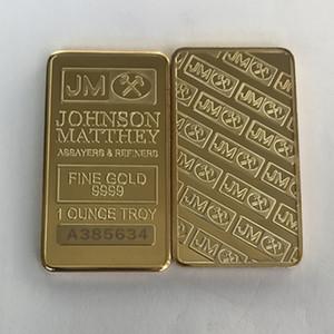10 pcs não magnético Johnson Matthey sivler ouro barras plaqueadas 50 milímetros x 28 mm 1 OZ JM decoração moeda com o número de série do laser diferente