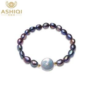 ASHIQI echte schwarze natürliche Frischwasserperlen Armbänder für Frauen 12-13mm Big Button Barock Perlenschmuck