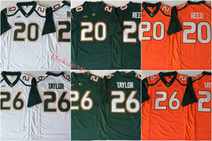 Homens Miami Hurricanes # 26 Sean Taylor Laranja College Football Jersey Bordados Branco Verde # 20 Ed Reed Miami Hurricanes Jerseys S-3XL
