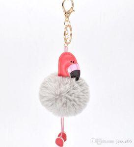 Cartoon Cocktail Wedding Birthday Hen Party Favors Flamingo Keychain Fluffy Artificial Rabbit Fur Ball Key Chain Women Car Bag Key Ring