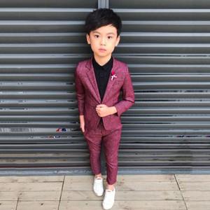 Neue Jungen Anzug Für Hochzeit Piano Party Teenager Baumwolle Solide Blazer + Hose 2 Stücke Sets Kinder Jungen Anzüge Formelle Kleidung Y181