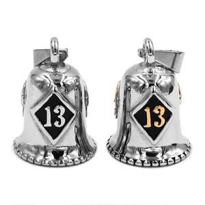 Lucky 13 Motor Biker Bell Pendant Подвеска для мотоциклистов из нержавеющей стали, серебро, золото, череп 508B (с стальным шариком, без звонка)
