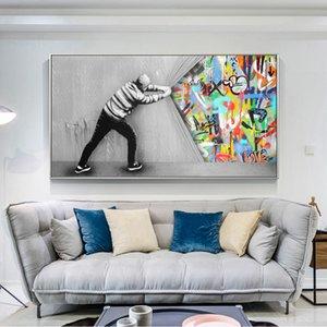 벽에 커튼 스트리트 아트 캔버스 유화 뒤에 거실 낙서 예술 벽 그림