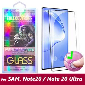 Para Samsung Galaxy Nota Note20 20 S20 S10 Ultra Plus Nota 10 S9 S8 Note8 Note9 5D curvo Caso amistoso vidrio templado protector de la pantalla del teléfono