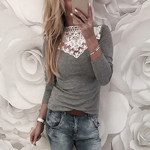Fashion-2019 Winter Women Girls Casual Solid O Neck Long Sleeve Lace Croceht Patchwork Slim Stretchy Party Blouse Shirts