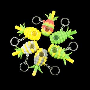 Ananas Mini Tobaco Handpfeife Silikonpfeife 2,8 Zoll Bubbler Löffel Pfeife für Rauchen Hersteller Großhandel 6 Farben mit Schlüsselanhänger