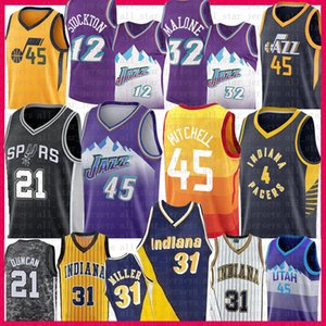Donovan 45 Mitchell Tim Duncan 21 Victor 4 Oladipo Reggie Miller 31 Basketball Jersey Spur Rudy 27 Gobert John Stockton 12 Karl Malone 32