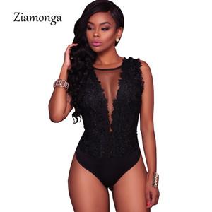 Body de encaje Ziamonga S-XXL Negro atractivo de las mujeres del mono de malla Romper el bordado Backless cuerpo de las señoras del Encaje Pantalones cortos Monos T191019