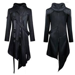 Hommes Vintage Punk Trench Jackets gothique Ceinture queue d'aronde Manteau à manches longues Vintage Halloween longue tenue Homme Uniforme