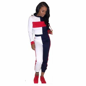 Colorful Striped Sexy 2 Piece Tracksuit Women Full Sleeve O-Neck Pullover Casual High Waist Long Bodycon Pant TS725 T200605