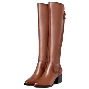 Горячие продажи- Мода Женщины над коленом Сапоги высокие каблуки кожа острым носом партии обувь женщина женщина жесткие ботинки