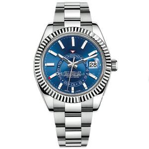 명품 시계의 새로운 남성 자동 기계 달력 42mm 시계 스테인레스 스틸 스카이 거주자 GMT 남성 빛난 사업 방수 시계 30M