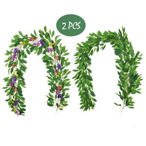 2 Pcs Faux Plants Rattan Vine Garland Rhododendron Simsii Leaf Floral Rose Wildflowers Wedding Arch Jungle Party Events Decor