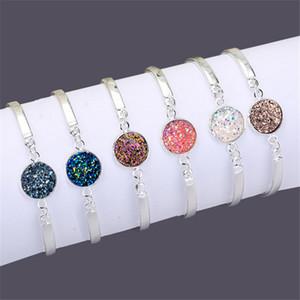 Naturstein-Armband-Armbänder für Frauen-bunten Kristallquarz Druzy Charms-Armband neuer Silber überzogenen Sommer-Dame-Girls Strand Schmuck