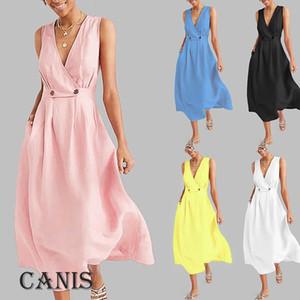 Senhoras Womens Summer Holiday Casual mangas vestido de praia vestido de festa longo