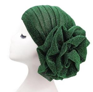큰 꽃 여자 터번 무슬림 인도 모자 밝은 실크 성인 모자 11 색 이상의 밝은 실크 성인 모자 무료 배송