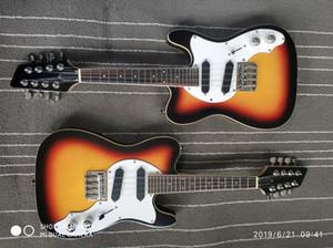 Rare Sun Guitare électrique Mando Telecaster Guitare électrique noire / Rising Sun Guitare électrique touche palissandre point blanc
