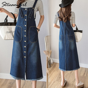 Abiti formato del vestito Streamgirl Denim Tuta donne più pulsanti frontali cinghie jeans Abiti Donna Denim Dress For Plus Size