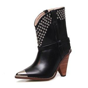 Hot Sale-ZVQ hiver nouvelle mode sexy bottines super talons hauts glissement sur rivet bout pointu de véritables femmes en cuir chaussures expédition de baisse