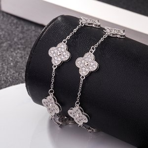 S925 sterling silver full diamond four-leaf clover designer bracelet fashion romantic women micro set five-leaf hand silver ornaments