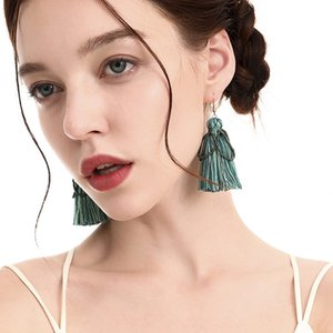 Original handmade cotton thread tassel earrings European and American earrings Bohemian quality rice bead earrings national style jewelry