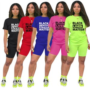 Fashion Frauen Shorts Anzug Schwarz Lives Matter Brief Zweiteiler Kurzarm T-Shirt T-Shirt + Shorts Outfits Sommer Sport Anzug