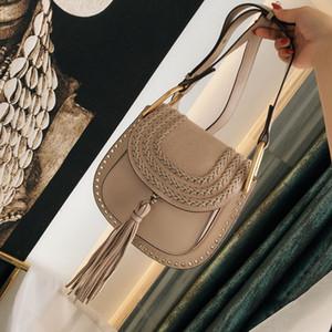 Famoso de la marca de moda bolsos de cuero del diseñador vacuno envío de la borla del remache bolsa de Marcie bolsa de sillín Bolsas de hombro bolso crossbody libre
