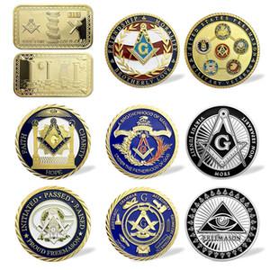 Maçonnique Outils de travail Signe Souvenir Pièce Francs-maçons Accessoires Challenge Maçonnique Coin Carré Nugget Badge Collectibles Jeton