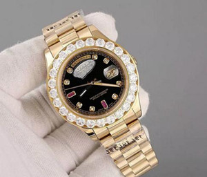 Super 2019 vendita calda di lusso buon presidente Giorno Data Guarda Big Diamond Bezel quadrante nero mens Reloj Orologi da polso dell'orologio della vigilanza