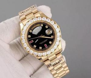 2019 Hot Sale Luxo Super Boa Data de Presidente Dia Assista Big Diamante moldura Black Dial mens reloj relógio dos relógios Relógio de pulso Relógios de pulso