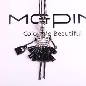 Aşk Kız Multicolor için Bling Bling Doll Şekli Uzun kolye kolye Kadınlar Doll Triko Zincir kolye Hediye