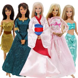 5 Pcs / Ensemble Conte De La Mode Fair Dress Copie Mulan Aladdin Princesse Longue Robe Tops Pantalons Vêtements Pour Poupée Barbie Accessoires Jouets
