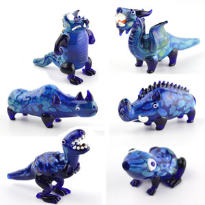 Tubos de dinosaurios quemador de aceite de vidrio coloreado azul pipas Tyrannosaurus cocodrilo rinoceronte Rana Animal Mano tabaco de pipa de tuberías de vidrio Dab