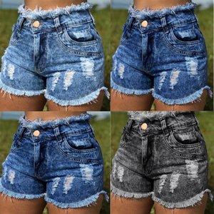 Distrressed Tassel Womens Denim Shorts Sexy High Waist Washed Hot Shorts Summer Stretchy Short Jeans