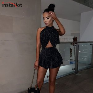 InstaHot Sexy Soft Club Stretchy 2 Piece Set Femmes Printemps Mock Neck Halter Crop Tops Dos Nu Plissée Perles Mini Jupes Noir