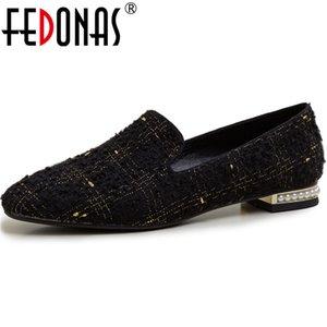 FEDONAS Pearl Metal Decoration 2020 насосы модные толстые каблуки коровья лакированная кожа Consise Shoes насосы новая обувь женщина