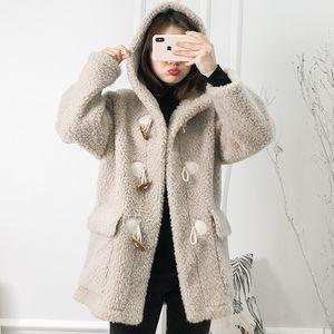 Brasão real Fur Outono Inverno Wool Jacket Roupas Femininas 2020 Sheep coreano Vintage Shealing Suede Lining Abrigo Mujer MX1825 ZT2887