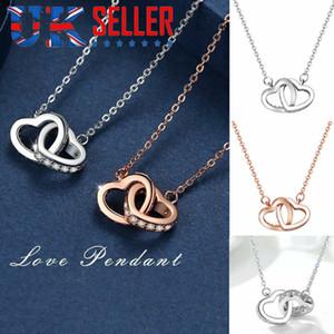 Valentine's Day Women Double Heart-shaped Pendant Necklace Chain Necklace Hot Pendants