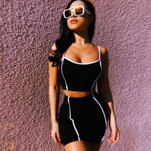 Women Two Piece Set Dress Sleeveless Spaghetti Strap Croptop Bodycon Skirt Sets Woman Two Pieces Skirt Sexy faldas mujer moda