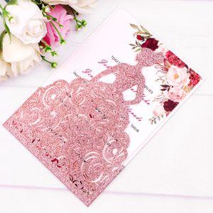 Chegada nova Rose Gold Glitter Corte A Laser Princesa Coroa Convites Cartões De Aniversário Doce 15 Quinceanera, Doce 16o Noivado Convites