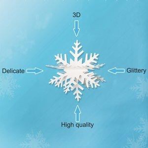 Anniversaire congelé de mariage 3M Fournitures de fête Blanc brillant papier flocon de neige 3D Garland de Noël Scène Nouvel An Bannière Décoration