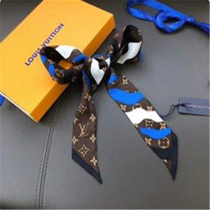 8 * 115cm 2 Farben 2020 -1 High-End-Frau Mode-Designs Gebunden Tasche Schal Damen Kleine Schleifenband Kopftuch Seidenschals Wrap