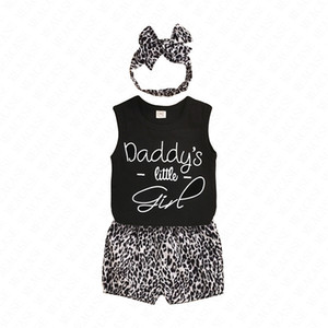 70-110cm Baby Girls Shorts Set with Hairband Head band Wrap 3 Piece Tracksuit Infants Toddler Kids Leopard Shorts clothes Casual Suit D62312