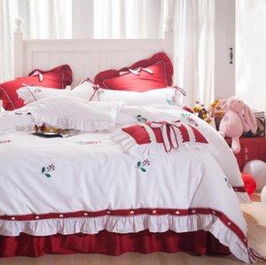Prenses Bow Güpürlü Yukarı Yatak Malzemeleri Ev Tekstil Bedding Konfor Pamuk Nevresim 4 Resimler Nevresim Yüksek Kalite Yatak Suits ayarlar
