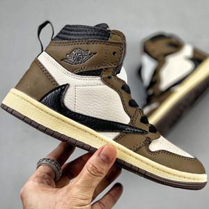 Высокое качество 1 1S Трэвис Скотт Детская обувь для мальчиков девочек 2019 дизайнер Боби баскетбол кроссовки Барб малыш дети детские тренеры размер 26-3