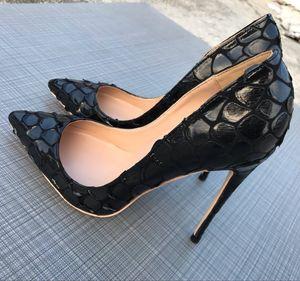 La venta caliente foto Luxura manera del cuero genuino señora de las mujeres negras de puntos impresos pies zapatos de tacones de 12 cm 10 cm 8 cm