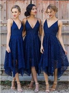 Navy Blue Spaghetti Strap Asymmetrical Wedding Bridesmaid Dresses A Line V Neck Prom Evening Gowns Backless Country Cocktail Party Dresses