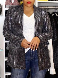 2019 Autumn Women Fashion Elegant Party OL Style Coat Work Wear Shiny Lapel Neck Casual Blazer